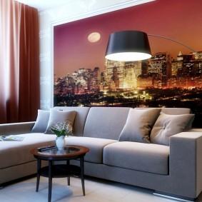 Фотообои за диваном угловой формы