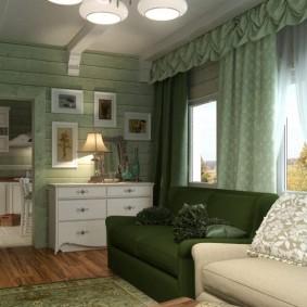 Зеленые шторы с мягким ламбрекеном