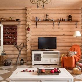 декор бревенчатых стен гостиной комнаты