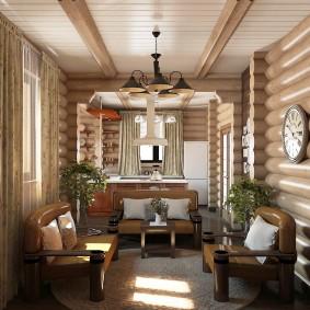 Деревянная вагонка на потолке гостиной