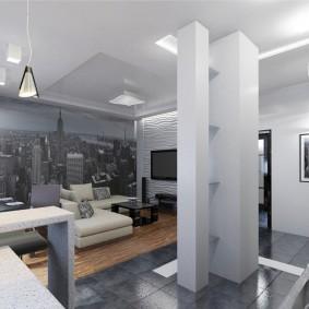 Фотообои на стене гостиной в стиле хай-тек