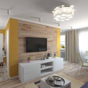 Гостиная зона в однокомнатной квартире