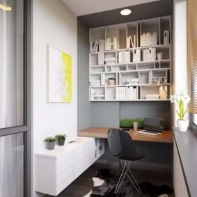 Домашний офис на благоустроенной лоджии