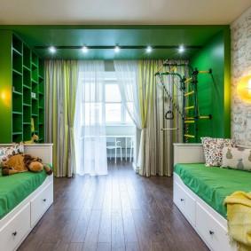 Зеленый цвет в интерьере детской