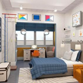 Комната мальчика после объединения с балконом