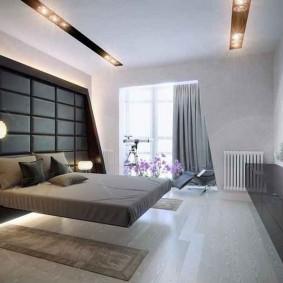 Парящая кровать в спальной комнате