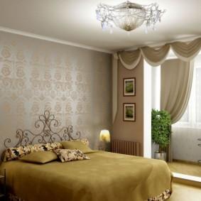 Мягкий ламбрекен на потолке спальни