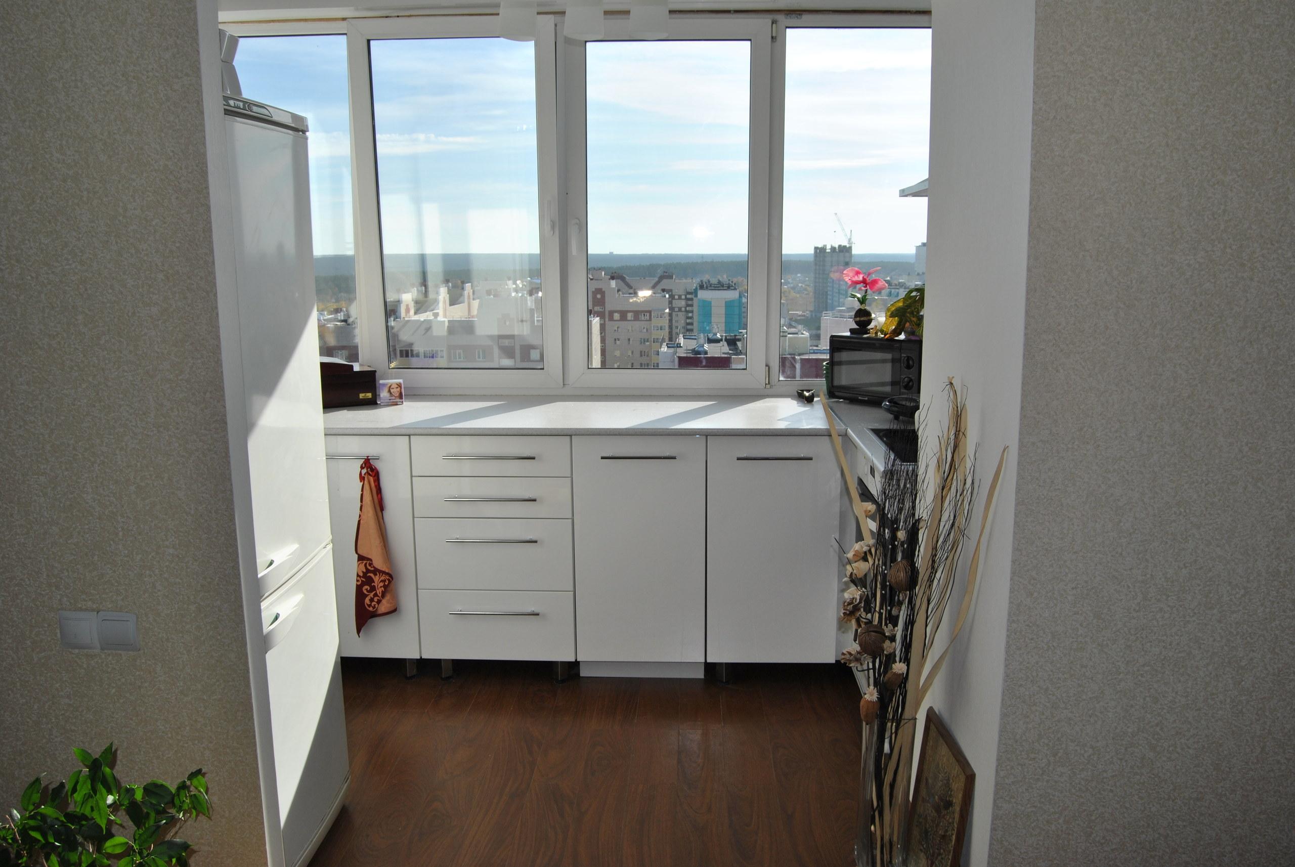 Как из балкона сделать кухню фото