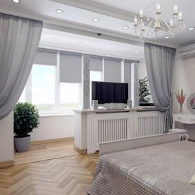 Зонирование спальни плотными шторами