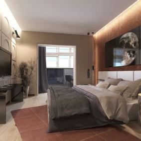 Стильная спальня в трехкомнатной квартире