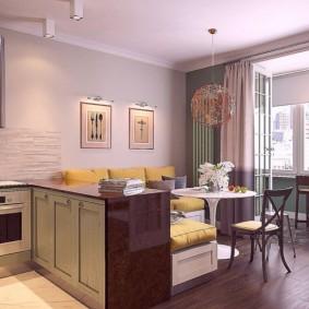 Полуостров в кухне-гостиной с балконом