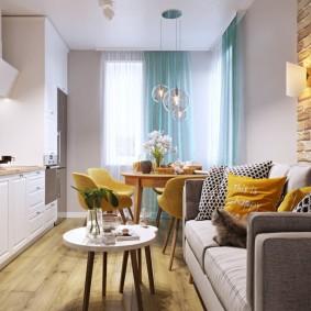 Удобный диван в кухне гостиной
