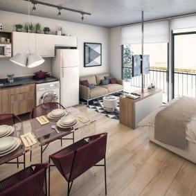 Уютная квартира студия с большими окнами