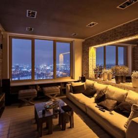 Освещение в гостиной квартиры панельного дома