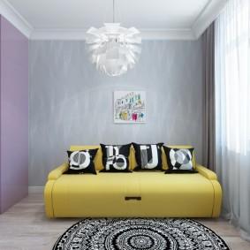 Желтый диван в комнате стиля минимализма