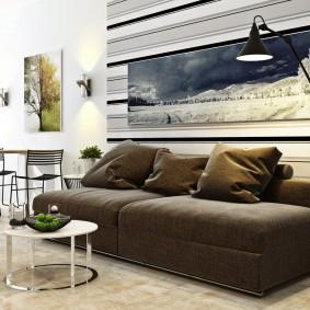 Широкий диван без боковых спинок