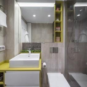 Квадратная раковина в ванной комнате