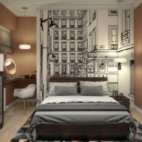Стильные обои на акцентной стене спальни