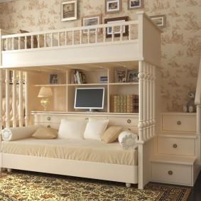 Белая детская кровать для двоих детей