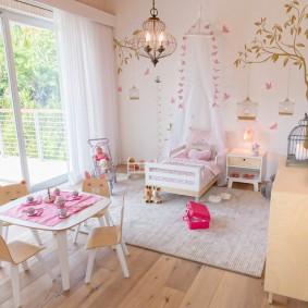 Меблировка просторной комнаты для ребенка