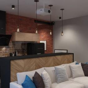 Проектор на потолке кухни-гостиной