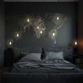 Декоративная подсветка на карте в спальне