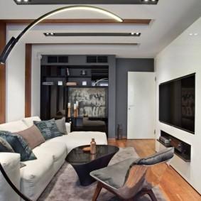 Узкая гостиная с диваном и телевизором