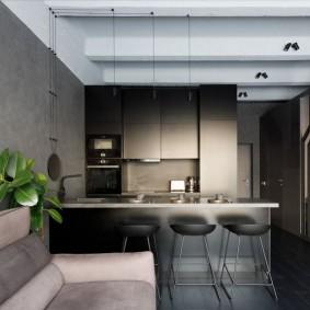 Барная стойка на кухне квартиры студии