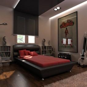 Черный потолок в спальной комнате