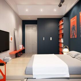 Спальная комната с серыми стенами