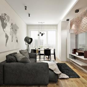 Карта мира вместо обоев в гостиной