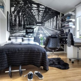 Фотообои с перспективой в комнате подростка