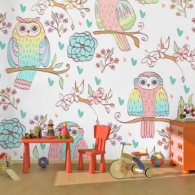 Детские обои с рисунками совы