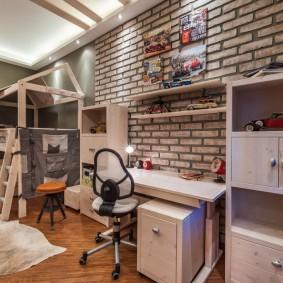 Лофт в интерьере комнаты для мальчиков