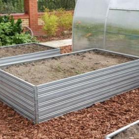 Мульчирование щепой поверхности земли между огородными грядками