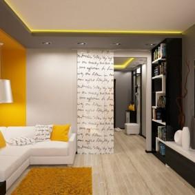 Желтые акценты в дизайне квартиры