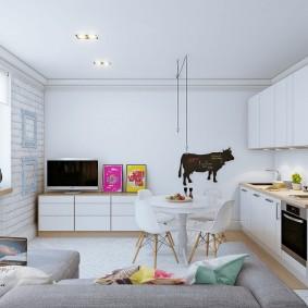 Белая мебель в однокомнатной квартире