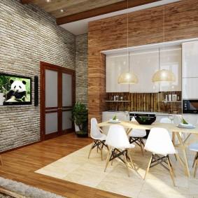 Кухня-гостиная в лофтной стилистике