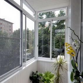 Орхидея на балконе с раздвижными окнами