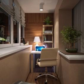 Интерьер балкона после присоединения к гостиной