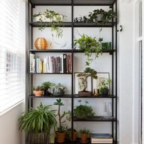 Открытый стеллаж на лоджии в квартире