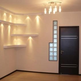 Подсветка полок из гипсокартона в зале
