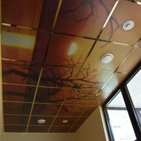 Кассетный потолок со встроенными светильниками