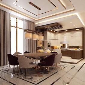 Мраморный пол в кухне-гостиной