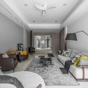 Мягкая мебель в гостиной прямоугольной формы
