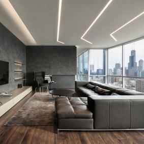 Панорамное окно в комнате квартиры