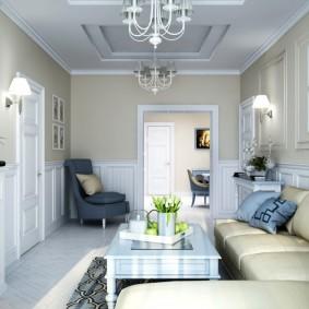 Узкая гостиная в современном стиле