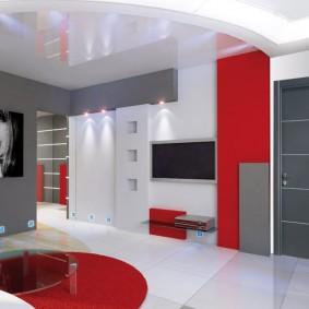 Красный цвет в оформлении интерьера гостиной