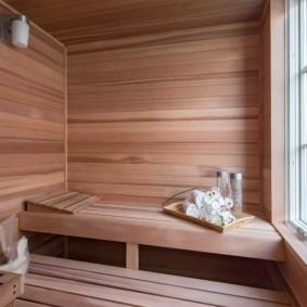 Отделка стен сауны ценной породой древесины