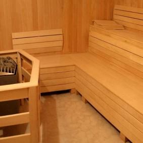 Интерьер парильного помещения для троих человек